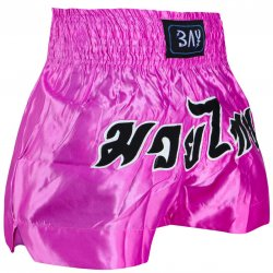 Remy Thaiboxhose pink rosa mit Schrift M
