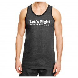 Tank Top Gym Shirt Let´s Fight grau schwarz S